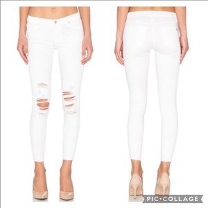Black orchid Noah ankle fray white jeans size 30